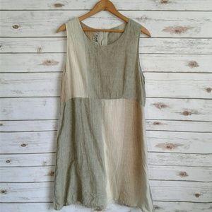 FLAX 100% Linen Stripe Blocks Button Back Dress